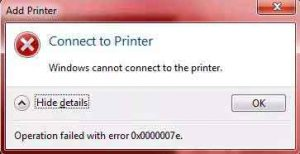 Cannot Connect to the Printer – Operation Failed with Error 0x0000007
